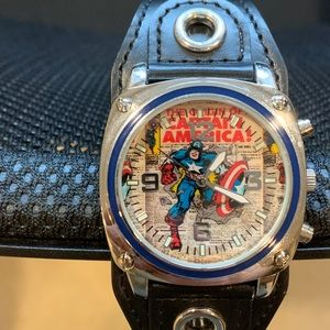 Marvel Captain America Wide Black Cuff Watch